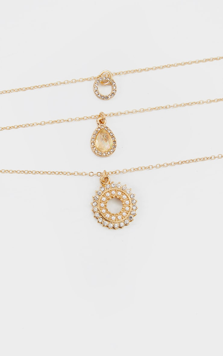 Gold Diamante Charm 3 Chain Layering Necklace 4