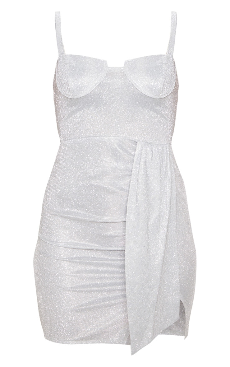 Silver Strappy Cup Detail Glitter Bodycon Dress 3