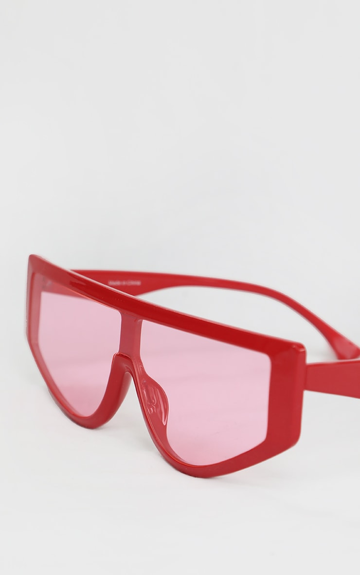 Red Straight Bar Oversized Sunglasses 3