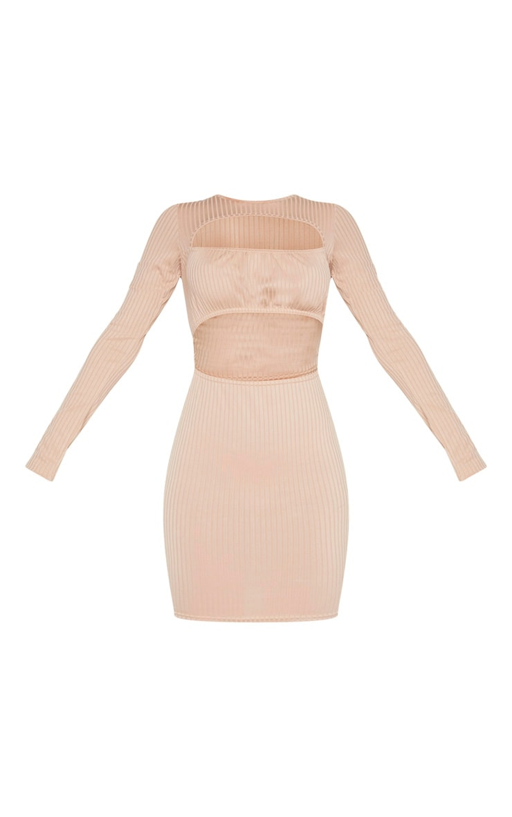 Stone Ribbed Long Sleeve Ruched Bust Bodycon Dress 3