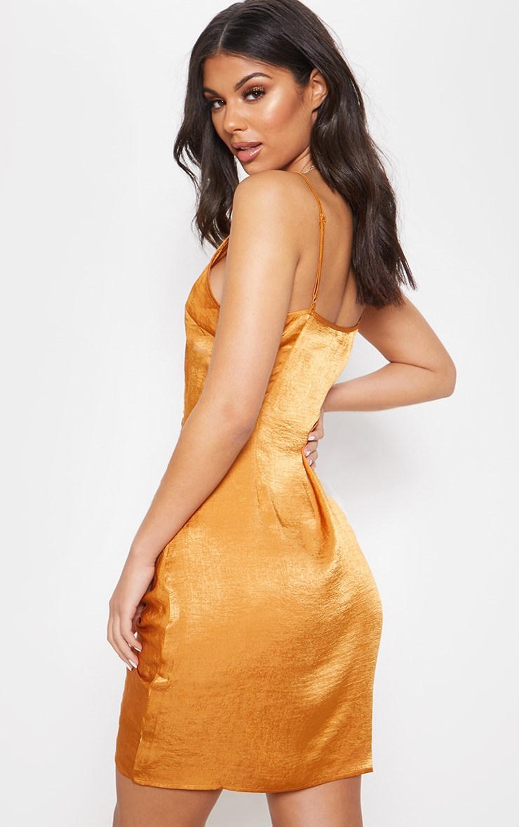 Rust Strappy Satin Ruched Bodycon Dress 2