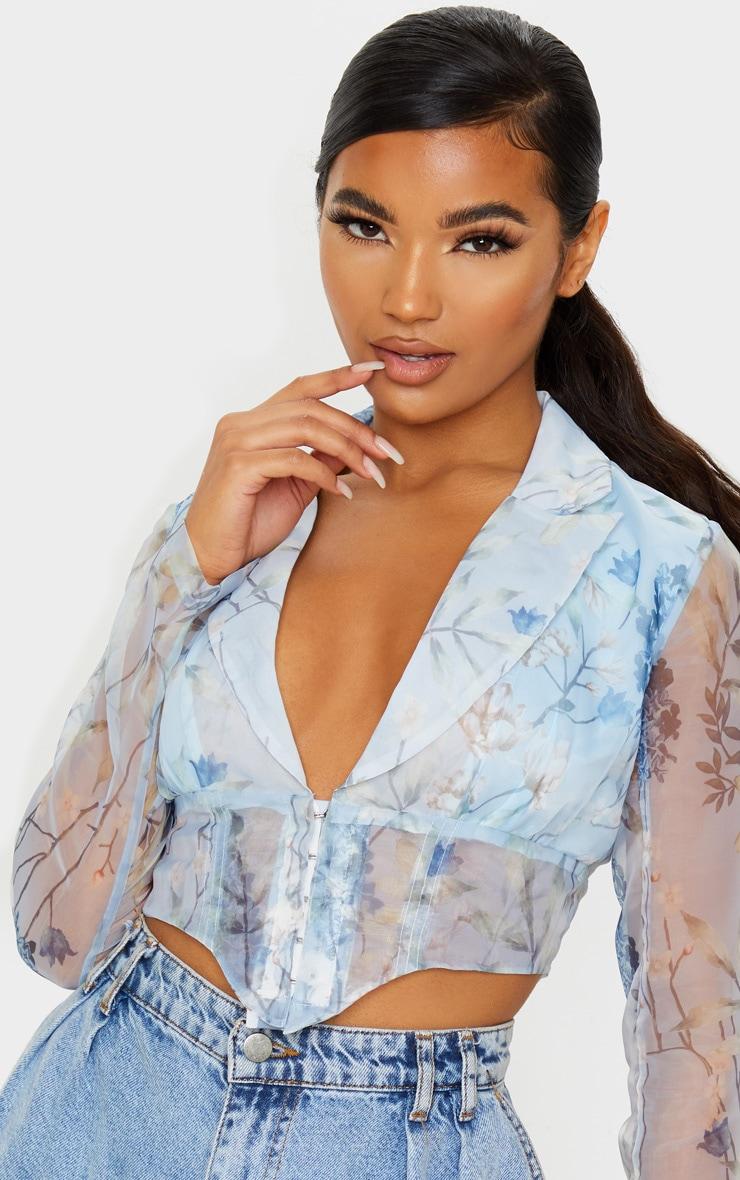 Blue Floral Sheer Organza Pointed Hem Shirt 5