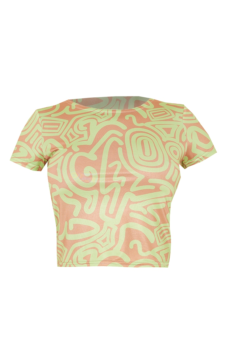 Green Abstract Print Short Sleeve Crop Top 5