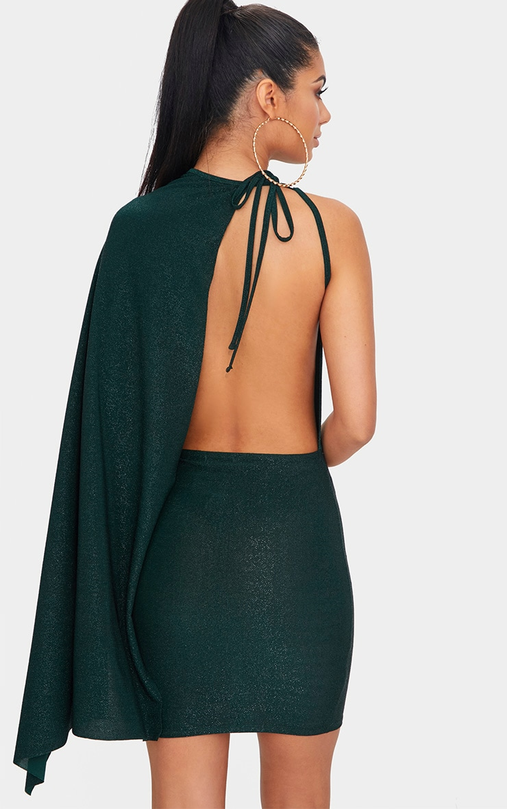 Green Glitter Cape Detail Bodycon Dress 2
