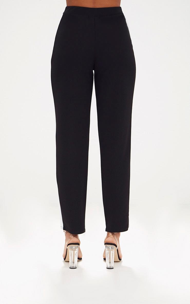 Black Contrast Stripe Straight Leg Trouser 4
