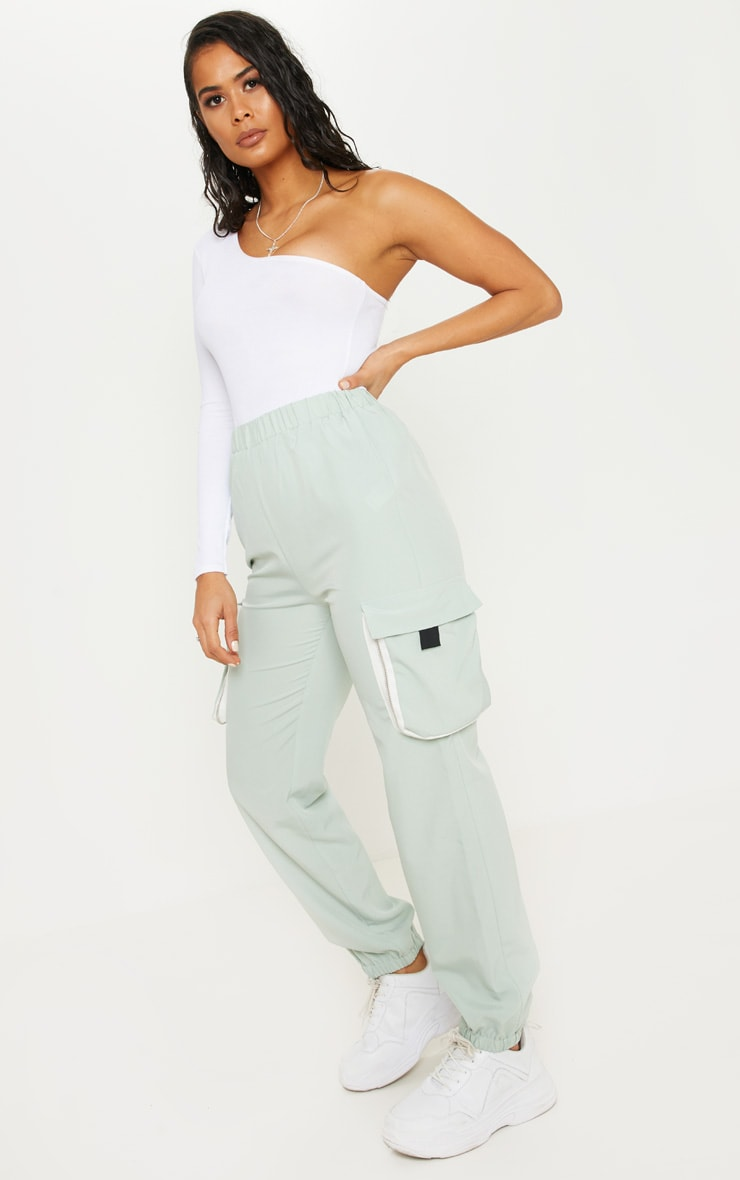 Sage Green Contrast Zip Tape Pocket Lightweight Jogger