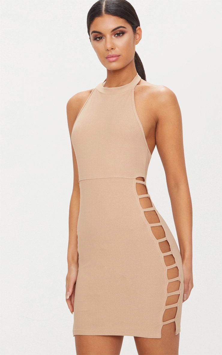 Taupe High Neck Extreme Split Strap Side Bodycon Dress 1