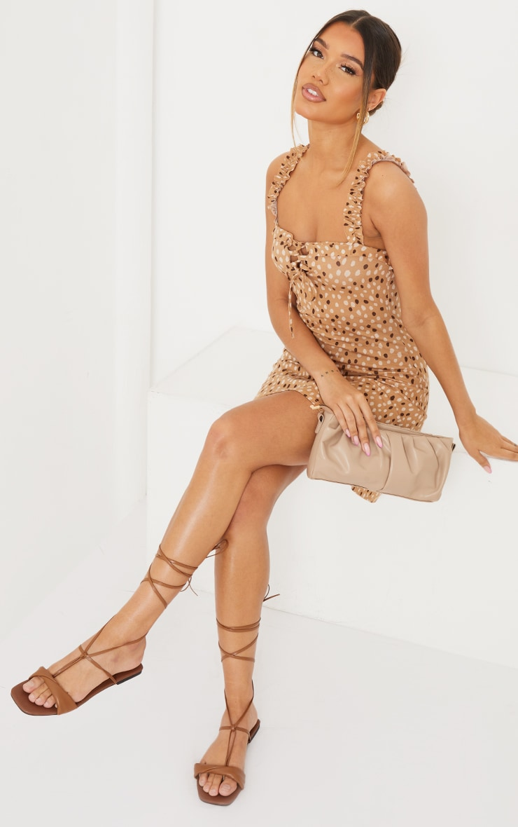 Tan PU Folded Square Toe Ankle Tie Sandals 1