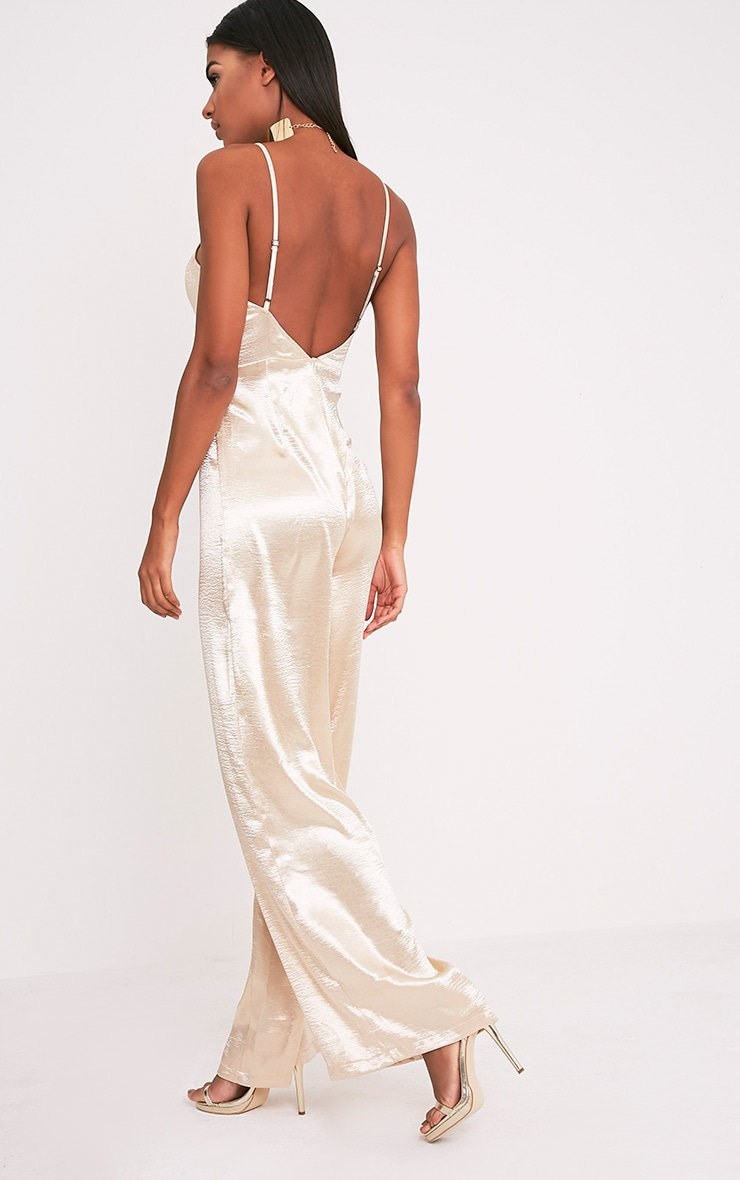 Daliah Gold Hammered Satin 90's Neck Wide Leg Jumpsuit 5