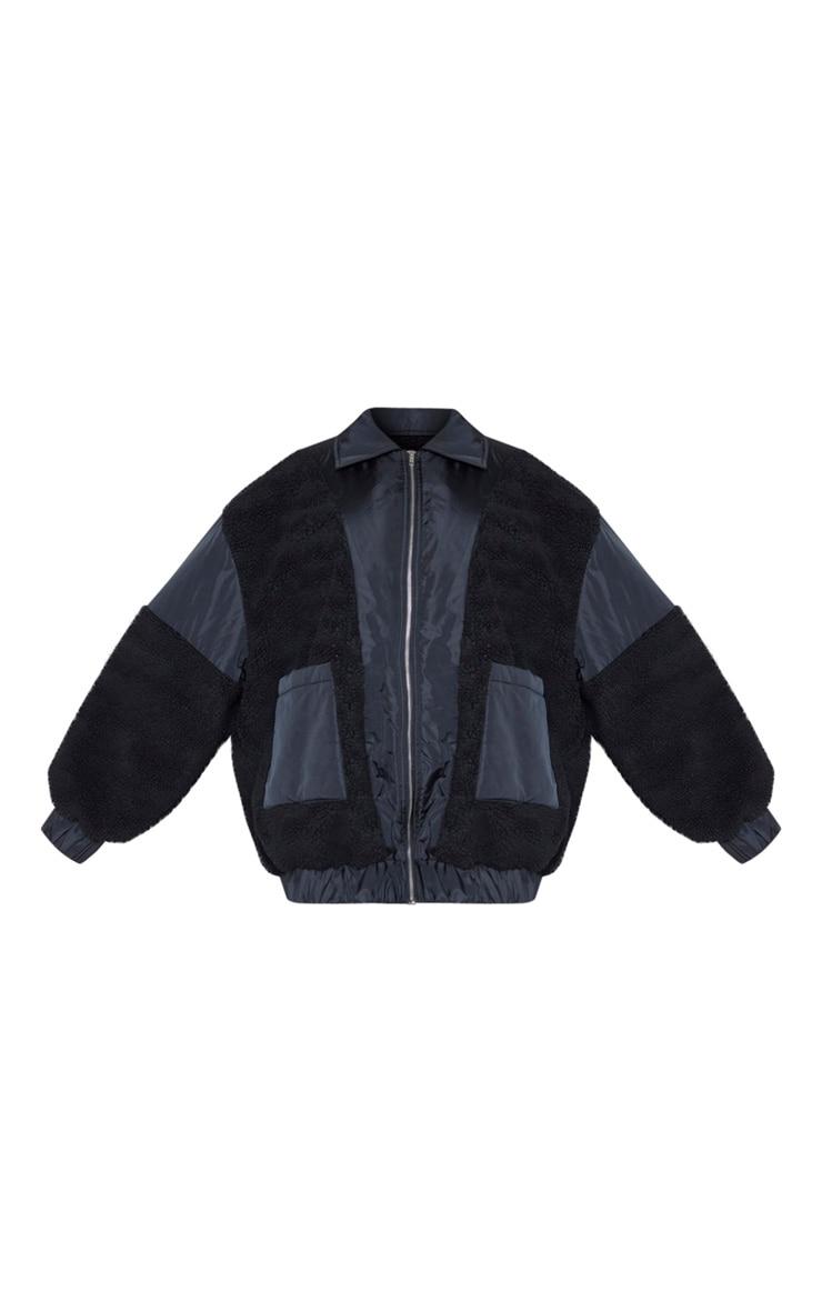 Plus Black Borg Contrast Trim Pocket Front Coat 3