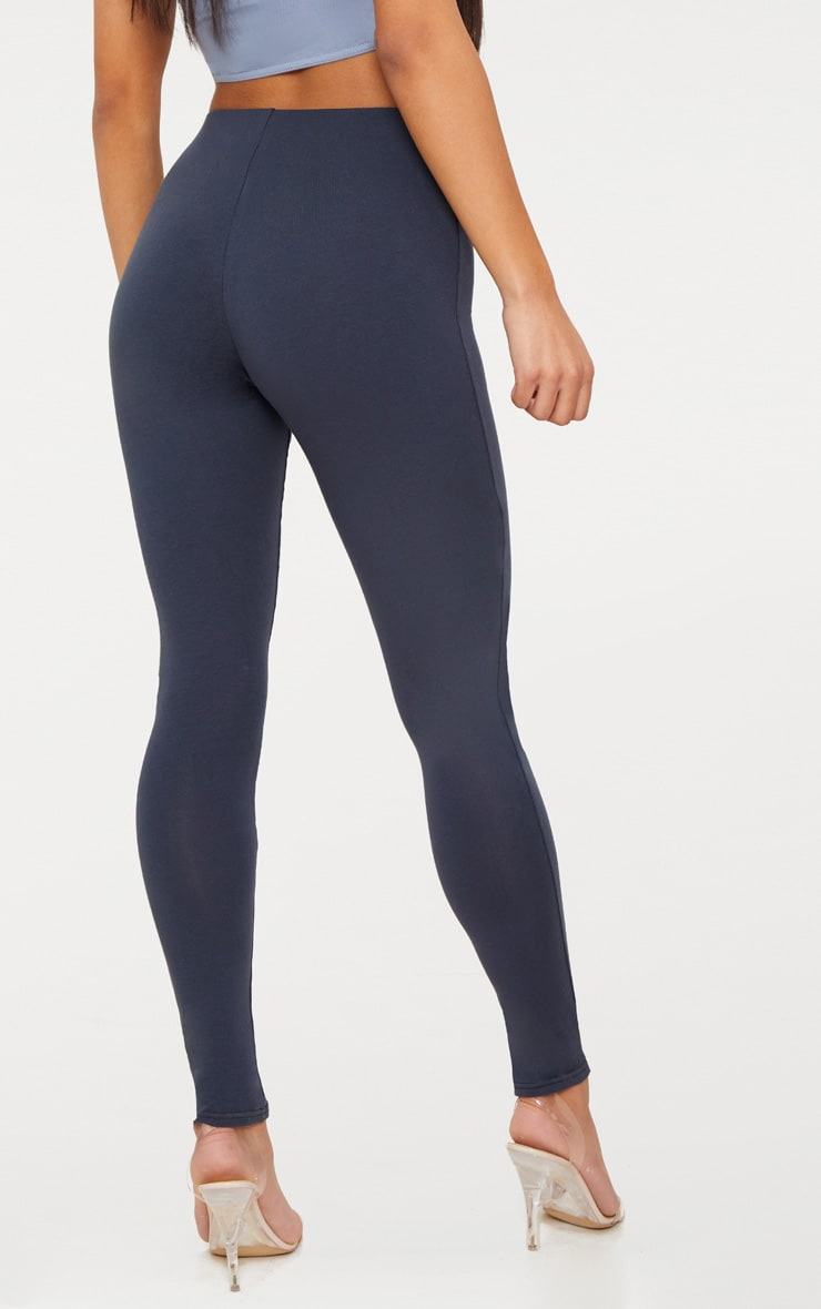 Charcoal Blue High Waisted Cotton Stretch Leggings  4