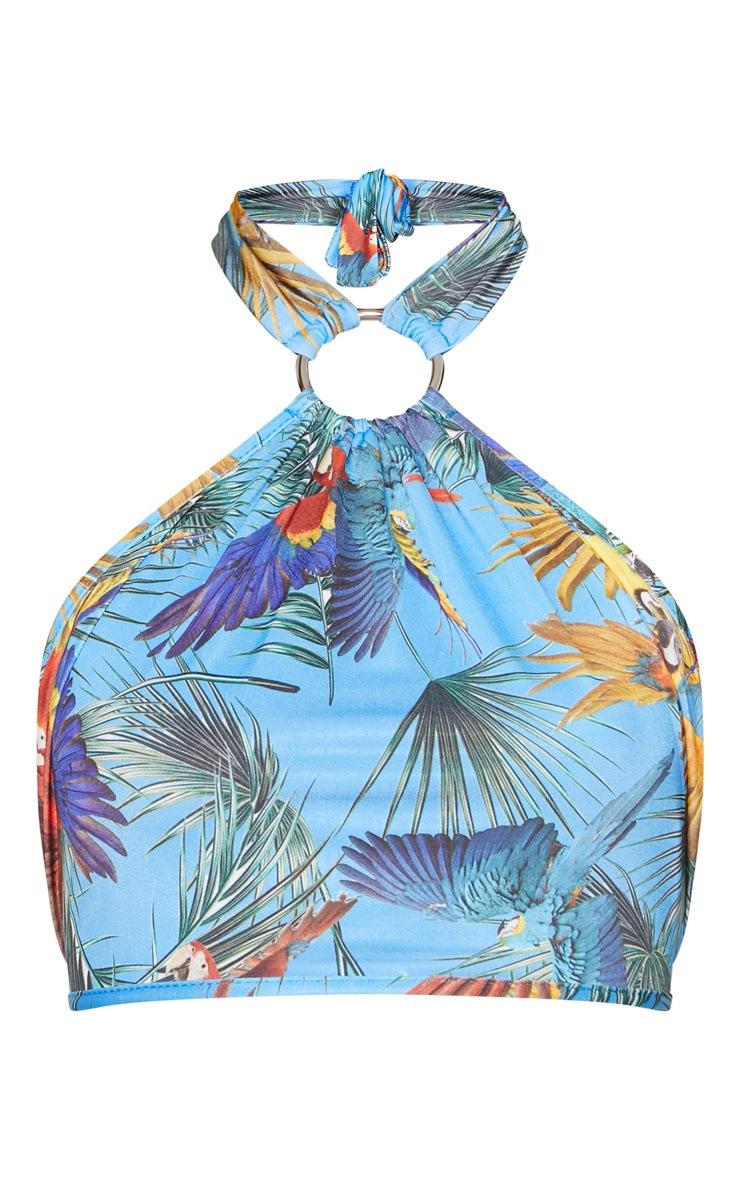 Blue Tropical Print Halter Neck Crop Top 3