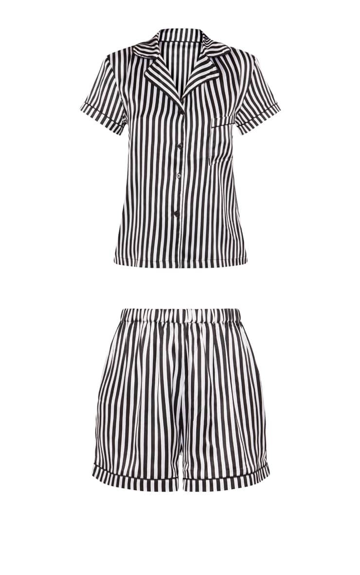 Black & White Striped Button Up Short Pyjama Set  3