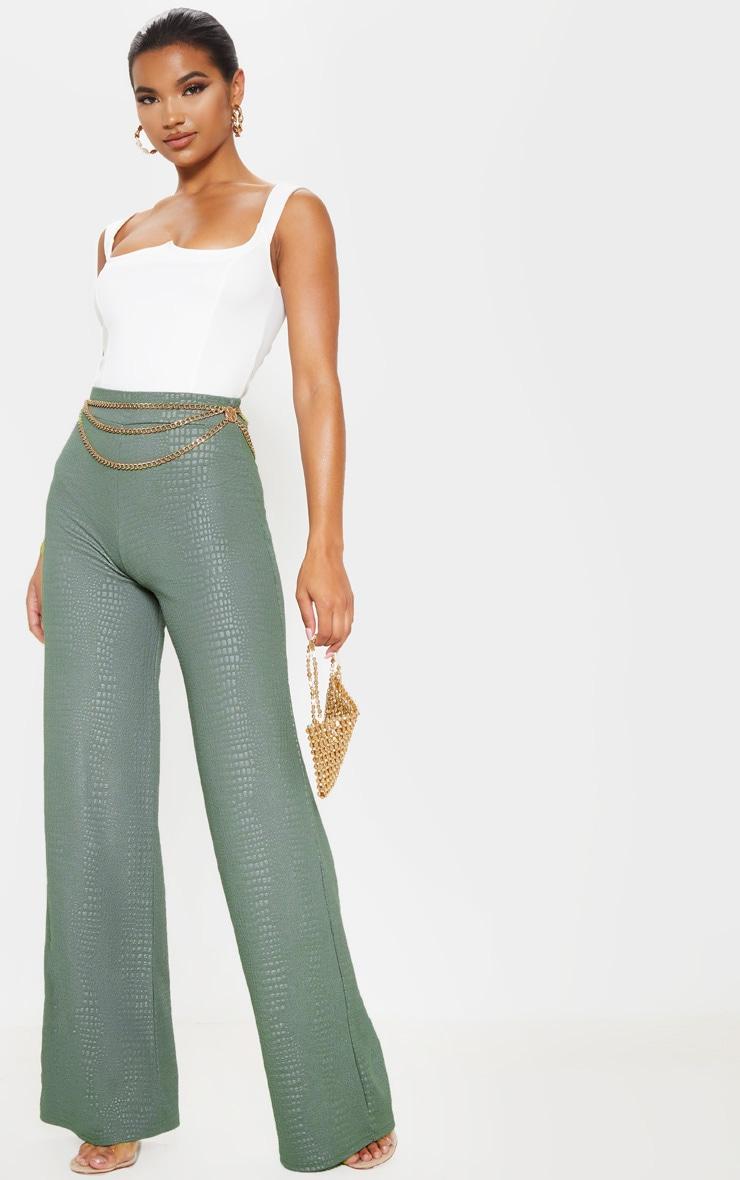 Khaki Croc Print Wide Leg Trouser 1