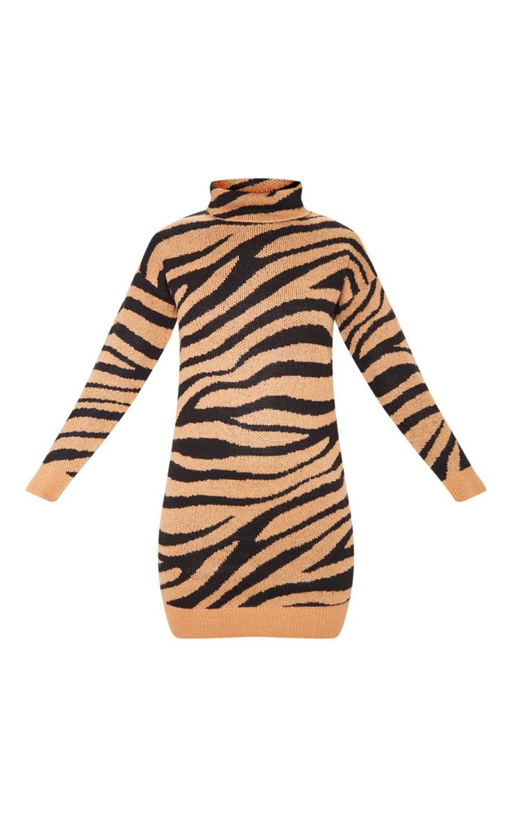Camel Animal Print Sweater Dress 3