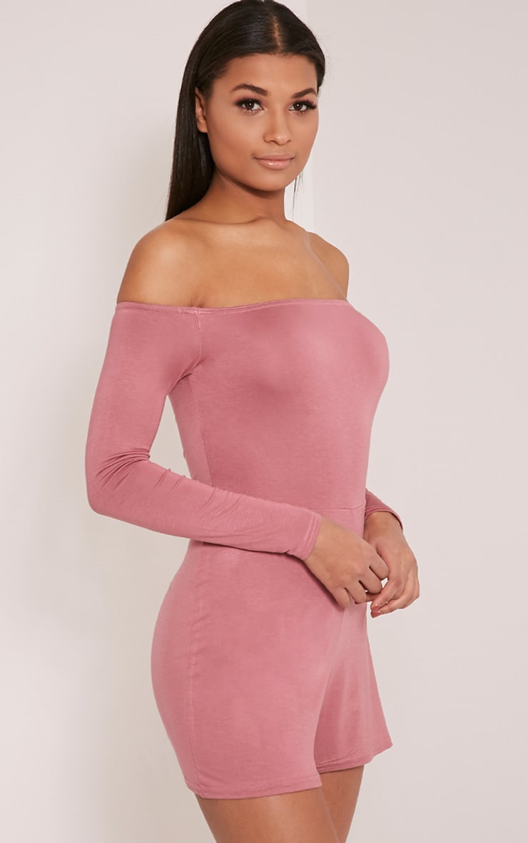 Basic Rose Bardot Jersey Playsuit 4