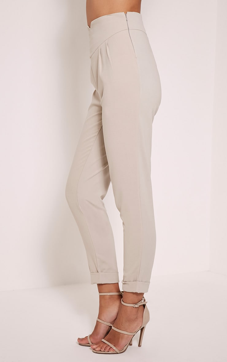 Elenor Stone High Waisted Tapered Trousers 4