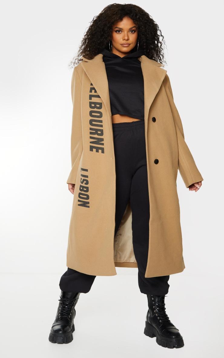 Plus Camel Long Line Printed Coat 3