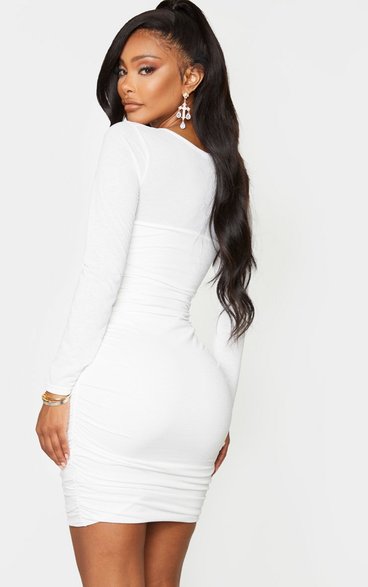 Shape White Ruched Square Neck Bodycon Dress 3