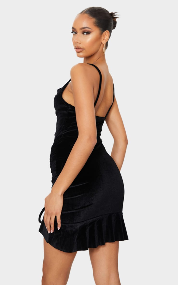 Black Velvet Strappy Ruched Frill Hem Bodycon Dress 2