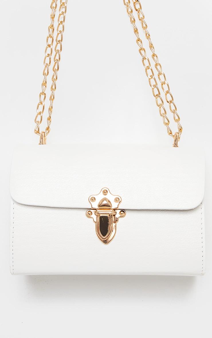 White PU Gold Buckle Detail Cross Body Bag 2