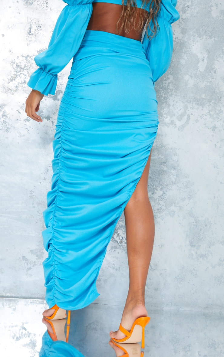 Bright Blue Woven Ruched Side Detail Split Leg Midaxi Skirt 3