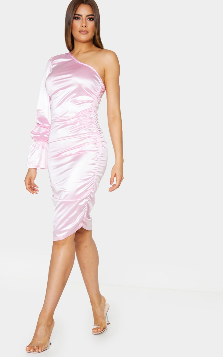 Tall Pink One Shoulder Satin Ruched Side Midi Dress 3