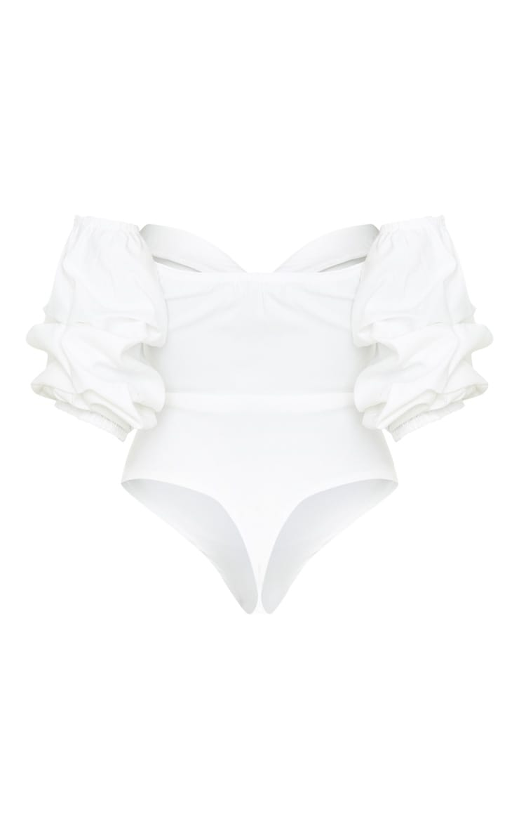 Cream Woven Bardot Ruched Bodysuit 4