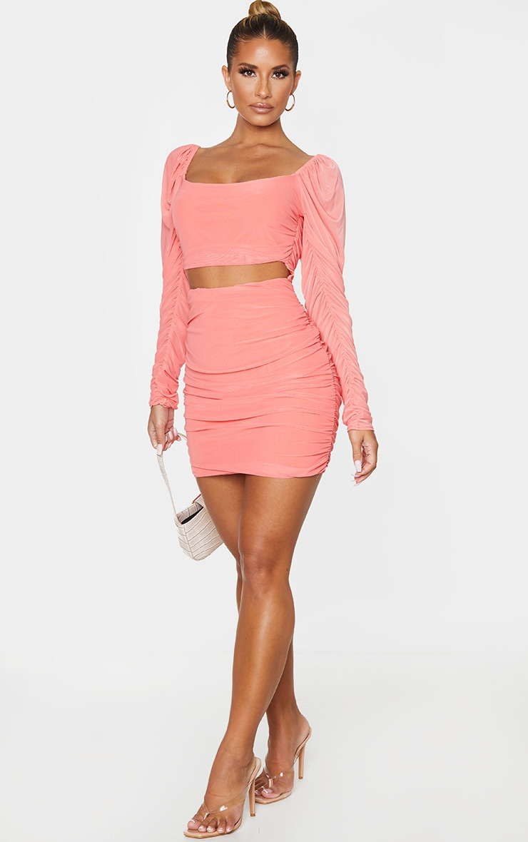 Coral Mesh Ruched Cut Out Puff Shoulder Bodycon Dress 3