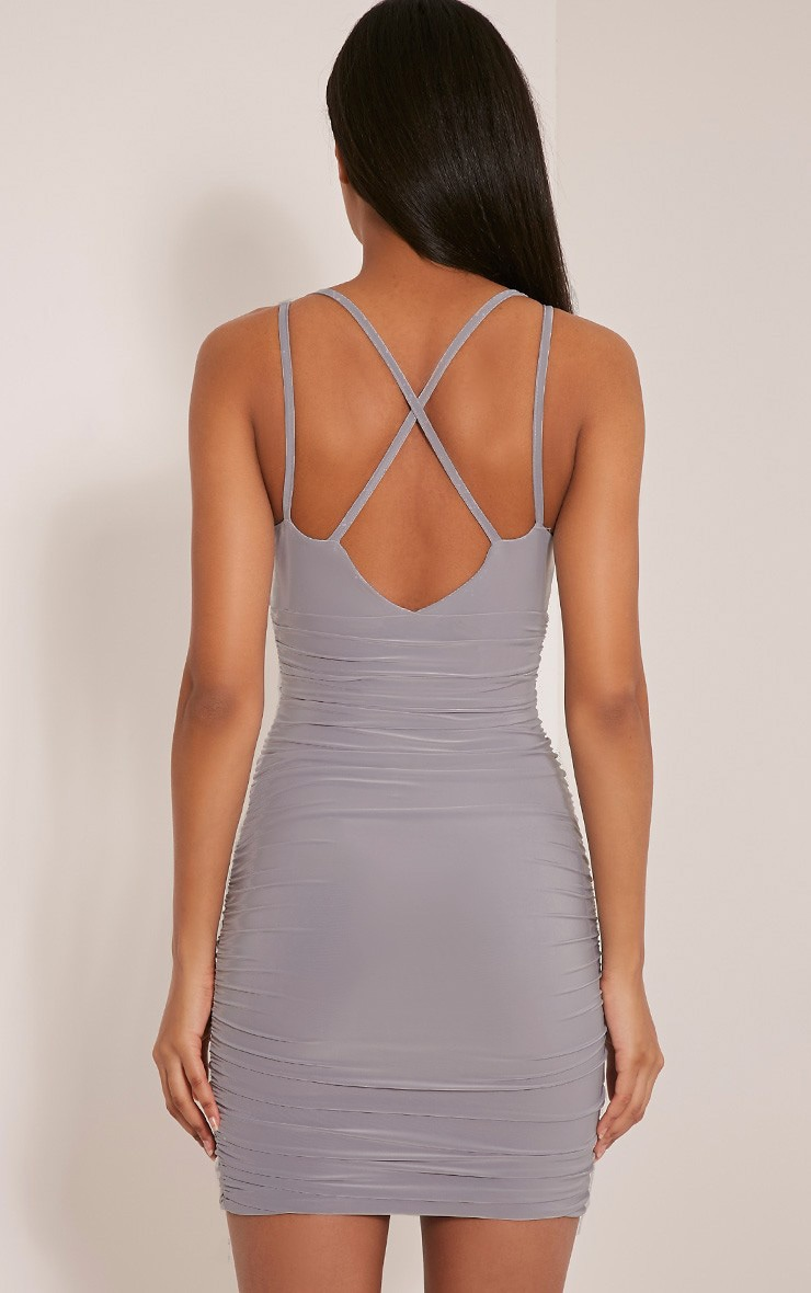 Agness Grey Cross Back Ruched Bodycon Dress 2
