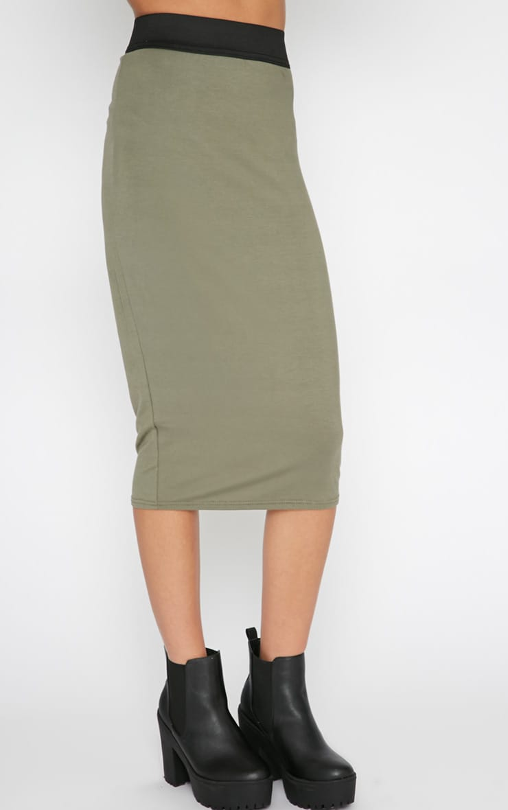 Tamika Khaki Jersey Midi Skirt  3
