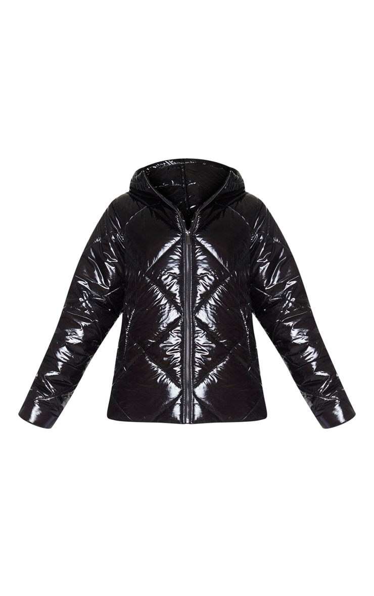 PRETTYLITTLETHING Black High Shine Diamond Quilted Oversized Puffer 5