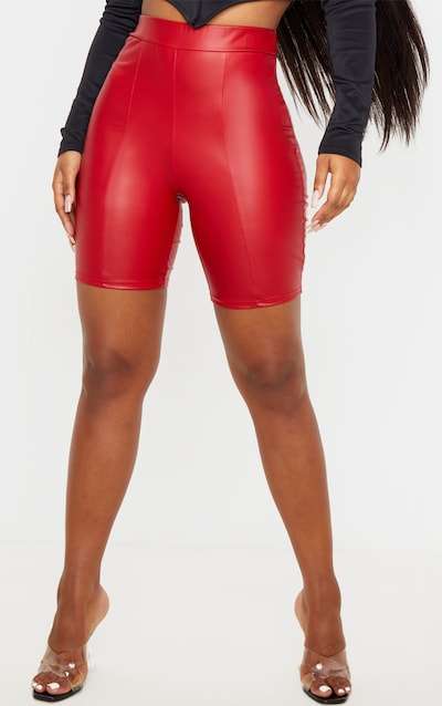 Red Coated Seam Detail Longline Short