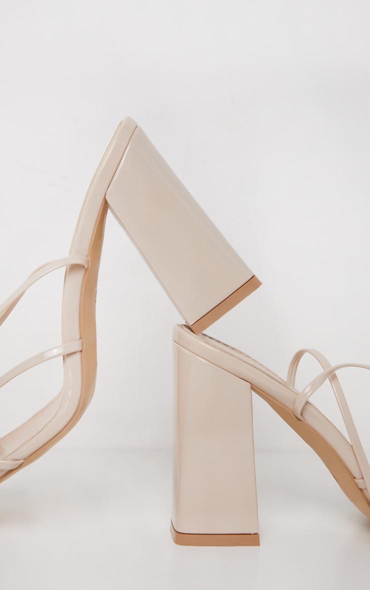 Nude Block Heel Ankle Tie Toe Thong Sandal 4