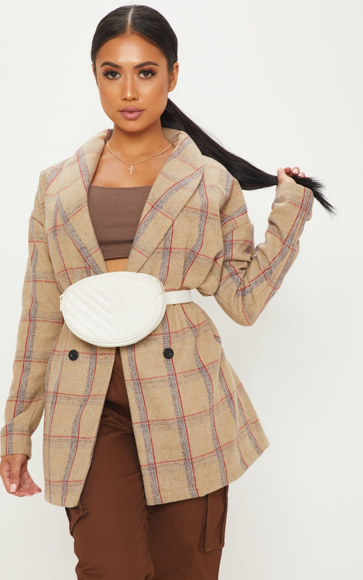 Petite Nude Check Oversized Coat 4
