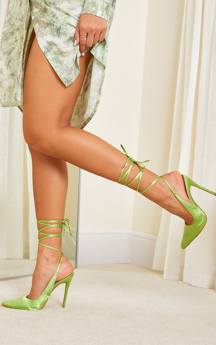 Lime Ankle Tie Court Shoes 2