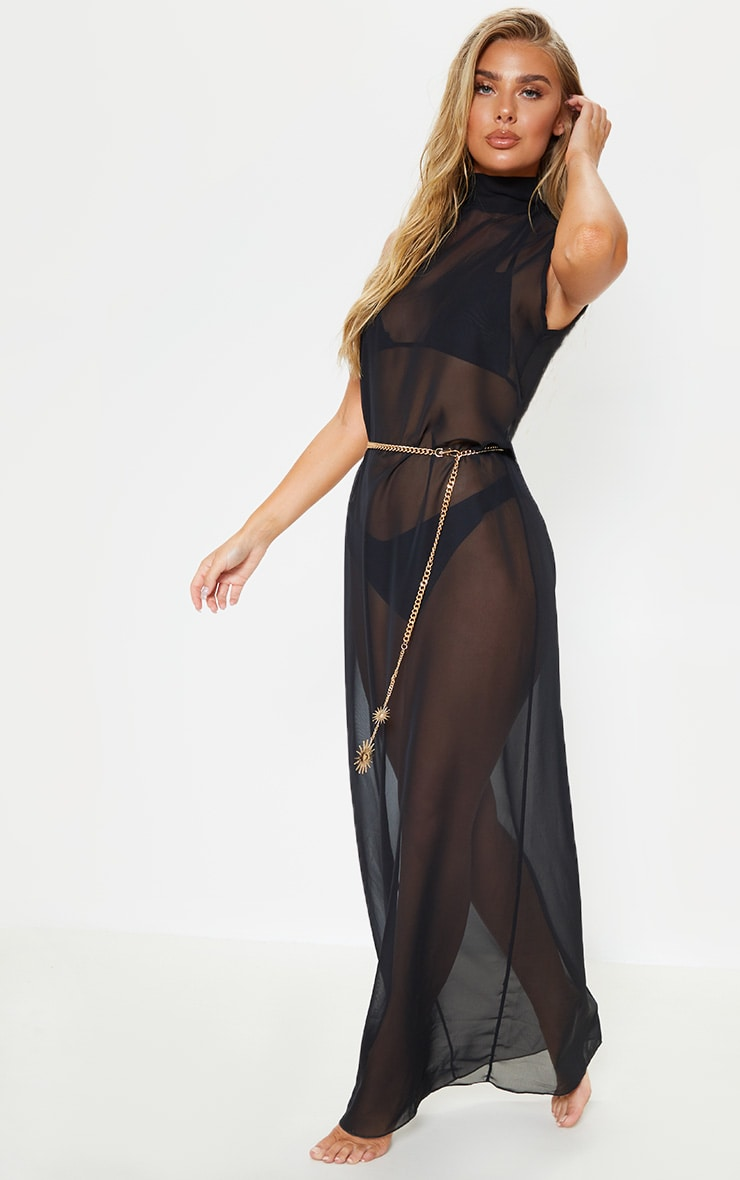 Black High Neck Oversized Maxi Beach Dress 4