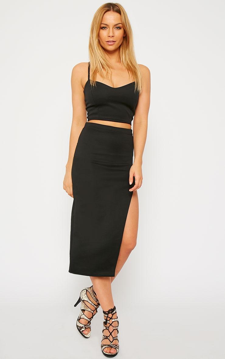 Savina Black Side Split Midi Skirt 1