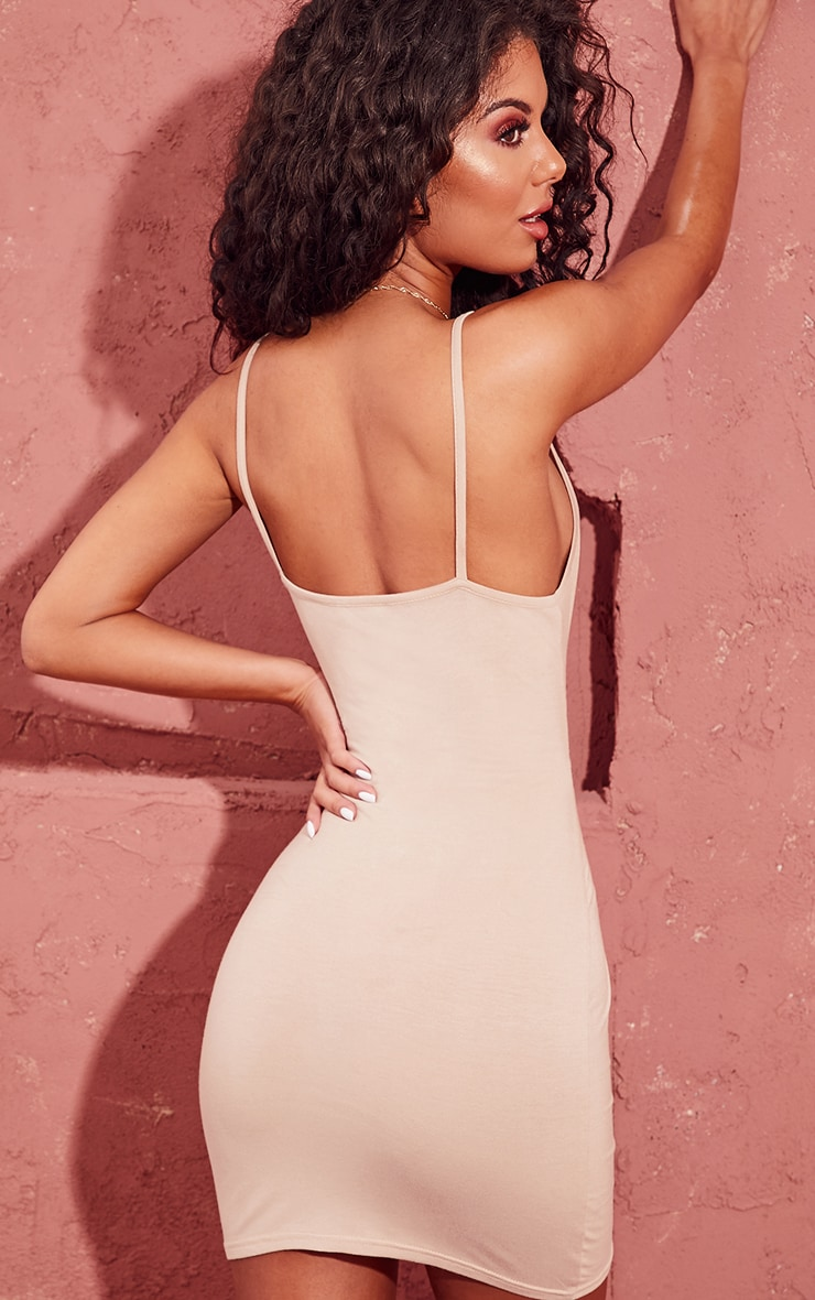 Basic Stone Extreme Plunge Strappy Bodycon Dress 2