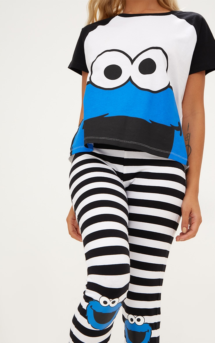 White Cookie Monster Legging PJ Set 5
