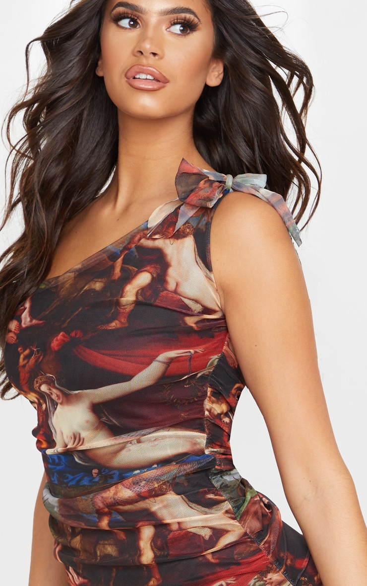 Multi Mesh Renaissance Print One Shoulder Bodycon Dress 5