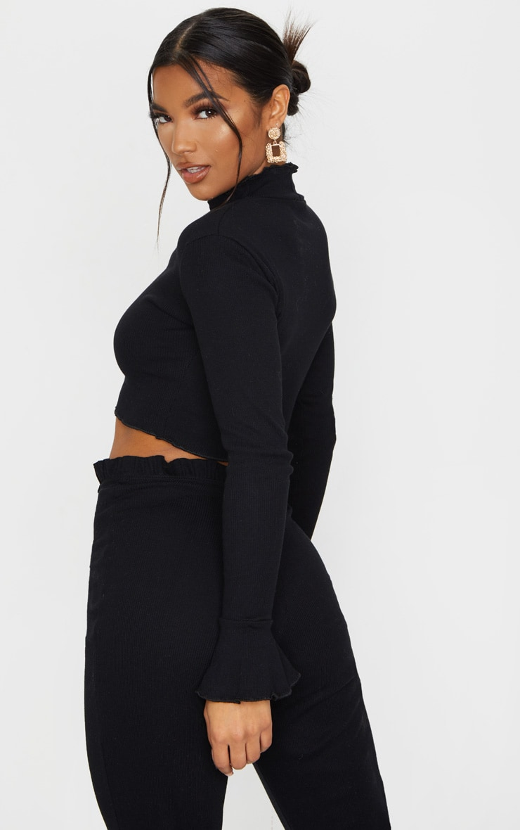 Black Rib Frill Detail Long Sleeve Crop Top 2