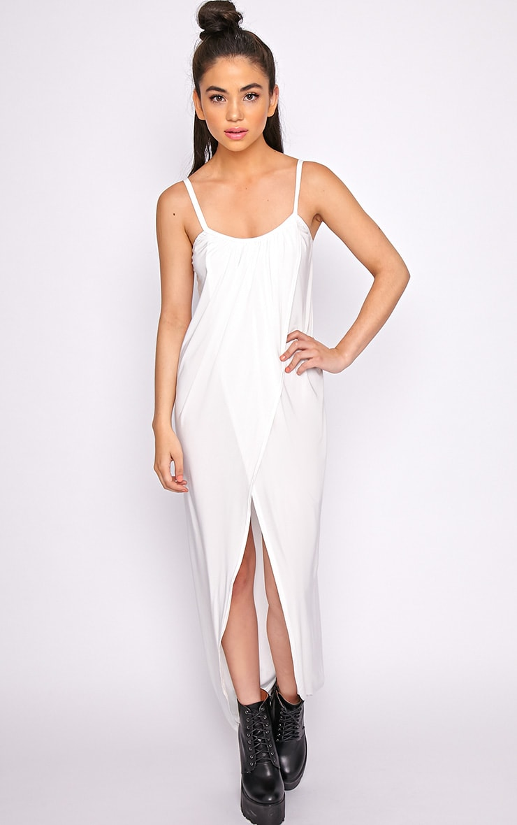 Selma White Extreme Slit Maxi Dress-M/L 3