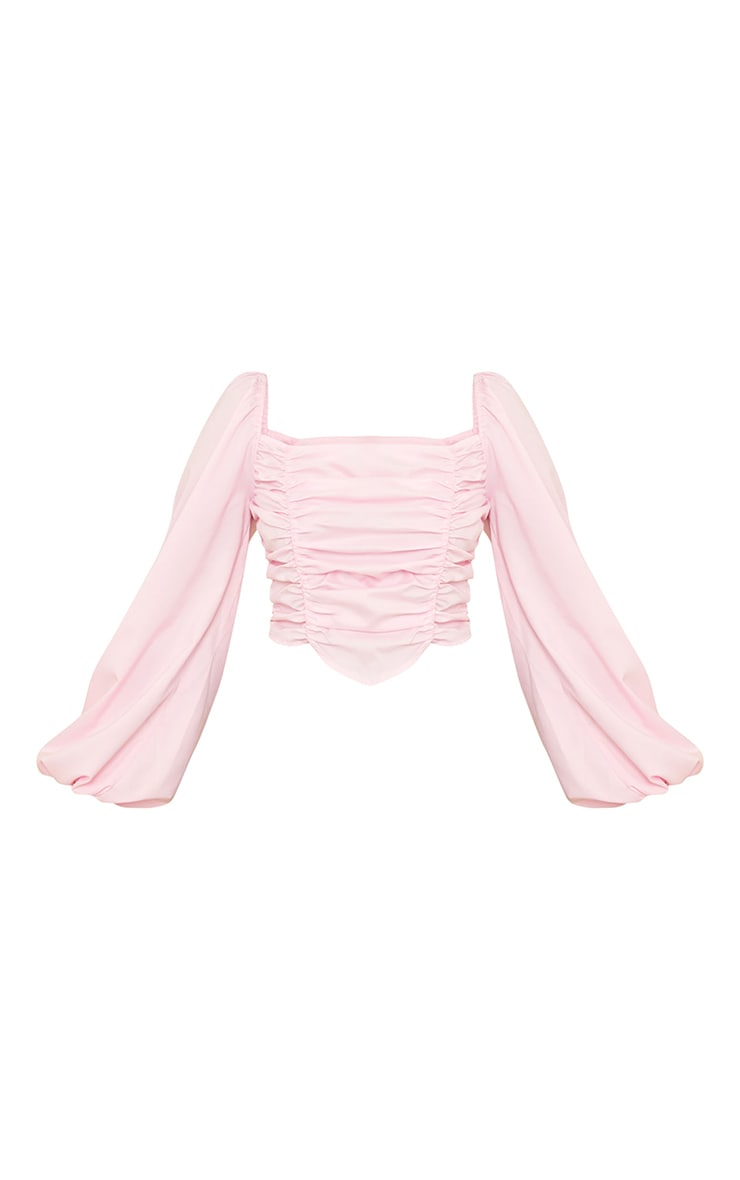 Petite Pink Ruched Front Long Sleeve Blouse 5