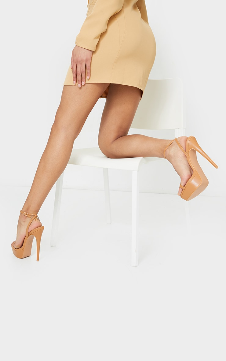 Tan PU Platform Strappy High Heel 2