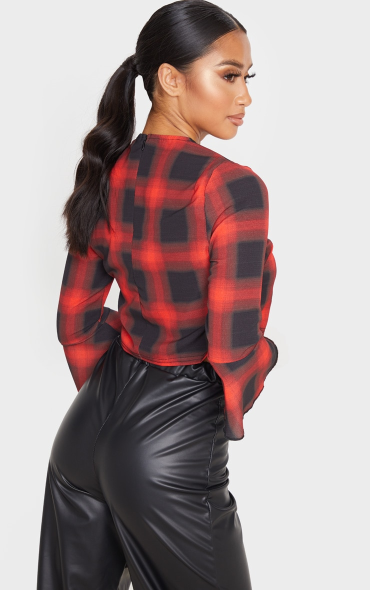 Petite Red Check Cropped Blouse 3