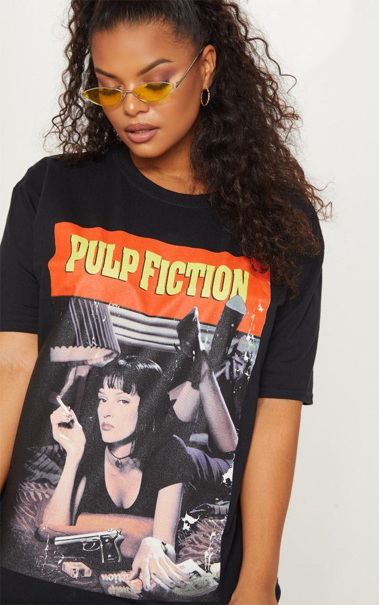 Plus Black Pulp Fiction Slogan T-shirt 1