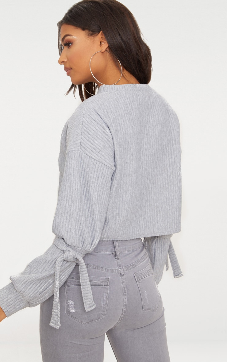 Grey Rib Cuff Detail Sweater  2