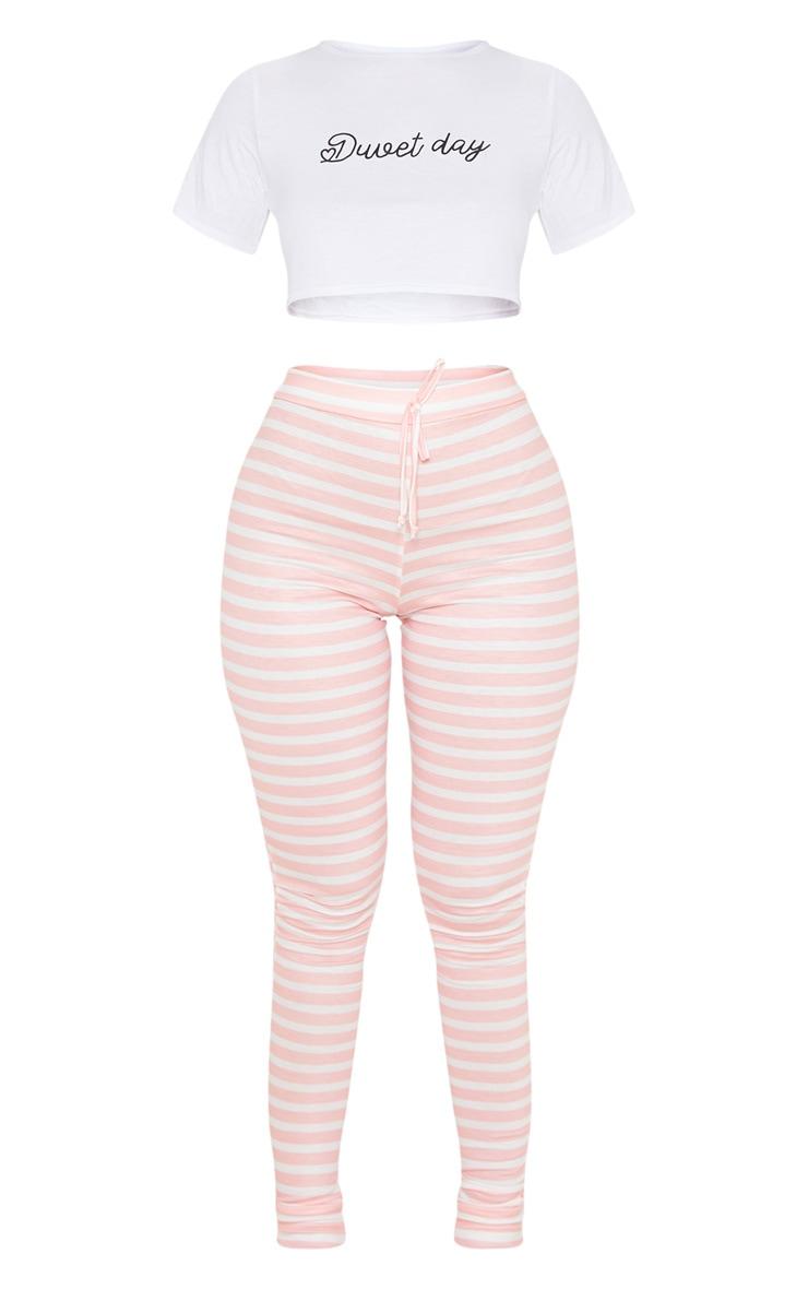 Ensemble de pyjama rose à legging rayé et top slogan Duvet Day 3