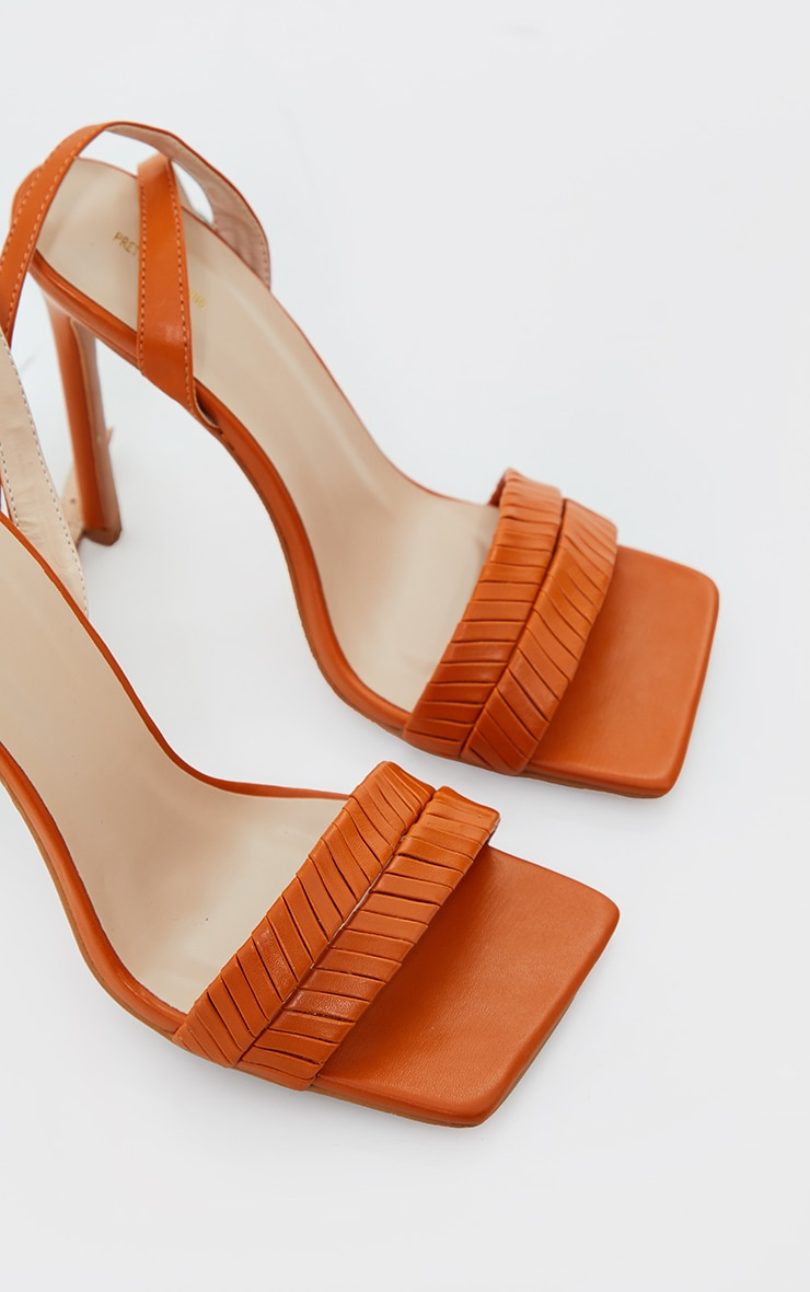 Rust Extreme Square Toe Double Quilted Strap Heeled Sandals 2